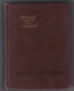 BOSWELL'S LIFE OF JOHNSON :: Macmillan's Pocket Classics : 1920 HB