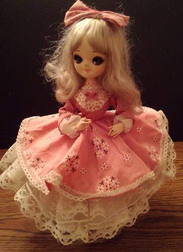 Vintage Big Eye Bradley Doll with Pink Floral Dress Pic 1