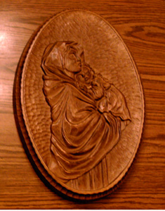 Madonna and Child Wood Depiction Plaque Pic 1