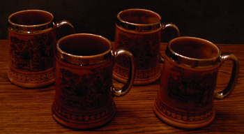 Lot of 4: Beer Mugs :: Horse Theme Overlay Steins   Pic 1