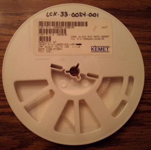 Lot of 87: Kemet C1805P103K1XRH Capacitors