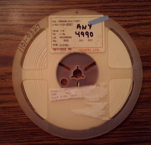 Partial Reel of Venkel CR0805-10W-1102FT :: FREE Shipping