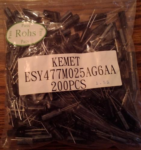 Lots of 200: Kemet ESY477M025AG6AA 470uF 25VDC