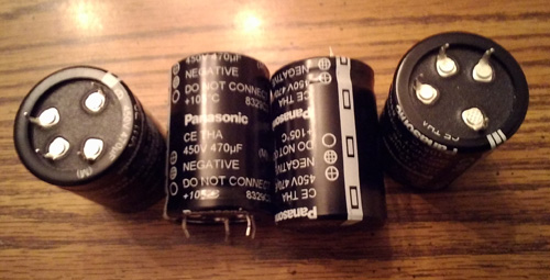 Lots of 4: Panasonic ECE-T2WA471EA 470uF Snap-In Capacitors