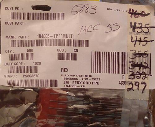 Lot of 297 ?: MCC 1N4005-TP